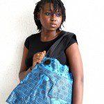 Blue Black Batik Bee Bag