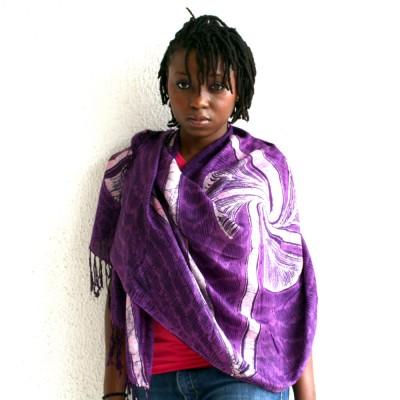 purple batik shawl