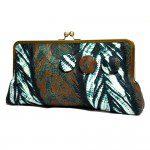 Leaves Batik Mega Snap Clutch- Front View