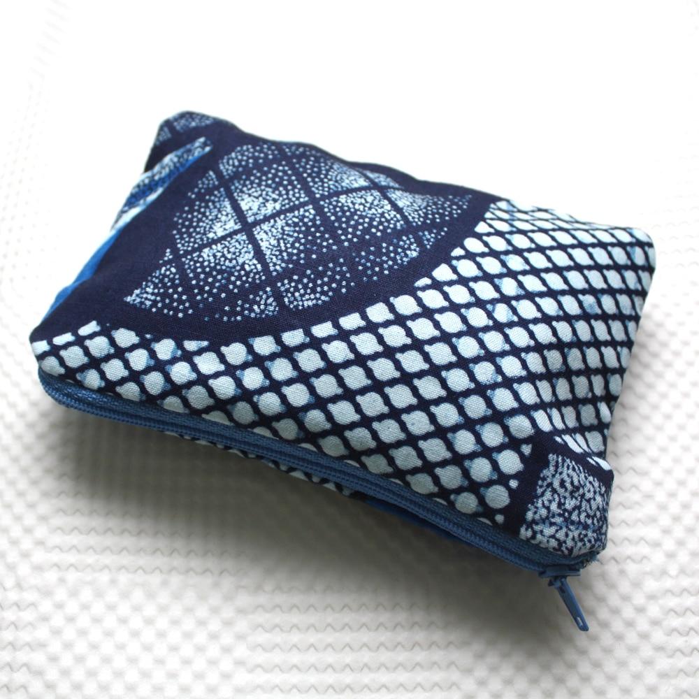 Blue Ankara Zipper Pouch