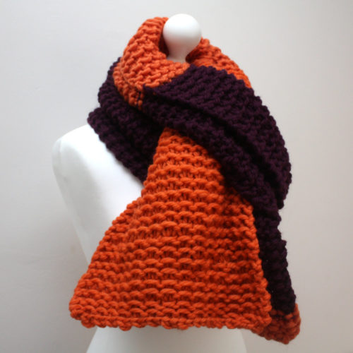 Orange and Purple Wool Scarf